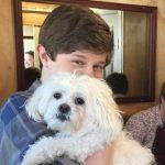 Graham Verchere with his pet dog
