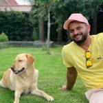 Suresh Raina with his pet dog