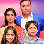 VVS Laxman with his wife and children