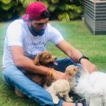 Yuvraj Singh with his pet dogs