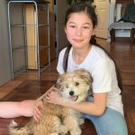 Alysa Liu with her pet dog