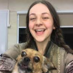 Eliza Butterworth with her pet dog
