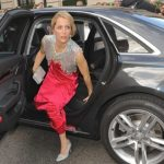Gillian Anderson with her car
