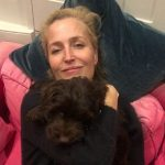 Gillian Anderson with her pet dog