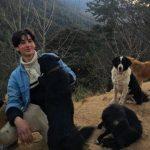Lino Facioli with his pet dogs