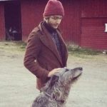 Toby Regbo with his pet dog