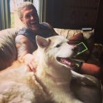 Adam Copeland with his pet dog