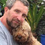 Eddie Marsan with his pet dog