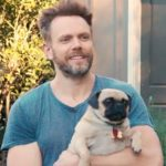 Joel McHale with his pet dog