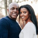 Renee Elise Goldsberry with her husband Alexis Johnson