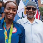 Dalilah Muhammad with her father Askia Muhammad
