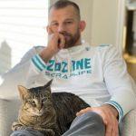 David Taylor with his pet cat
