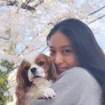 Emi Takei with her pet dog