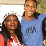 Foluke Akinradewo with her mother Comfort Akinradewo