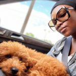 Genevieve Nnaji with her pet dog