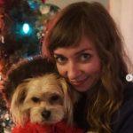 Lauren Lapkus with her pet dog